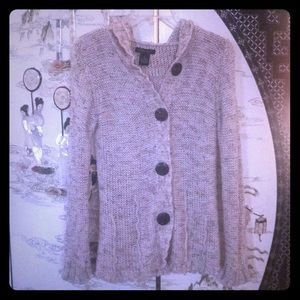 BCBG button down hooded cardigan sweater